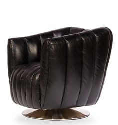 Black Leather Swivel Chair – Black Rooster Decor