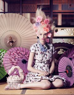 Must book a photoshoot like this before I turn 30! Japanese Flowers #SS14 www.blueisinfashionthisyear.com