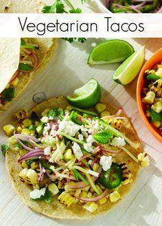 Charred Corn Veggie Tacos with Radish Zucchini Slaw Recipe - oh vegetarian goodness!