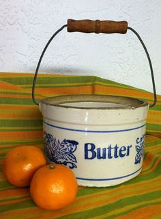 Old Butter Crock with Metal/Wood Handle by AssemblyLines on Etsy,