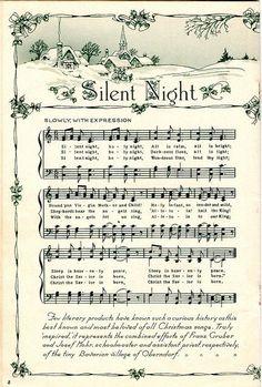 Christmas sheet music Silent Night is my favorite Christmas Song Christmas Sheet Music, Noel Christmas, Christmas Projects, Winter Christmas, Vintage Christmas, Christmas Ornaments, Christmas Collage, Xmas Music, Xmas Songs