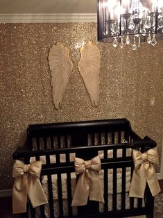 Angel nursery for Hartlyn. Gold glitter wallpaper by GlitterBug in Sand color