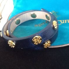 Rustic Cuff Metallic Navy Meagen Double Wrap Leather Bracelet with gold Logos Ne