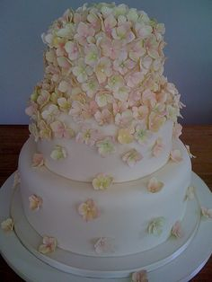 Cascading Hydrangea wedding cake by Stacey's Cakes, via Flickr