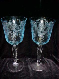 VINTAGE FOSTORIA GLASS CRYSTAL BLUE ~ GRAND MAJESTY WATER GOBLETS STEM EXCELLENT | eBay