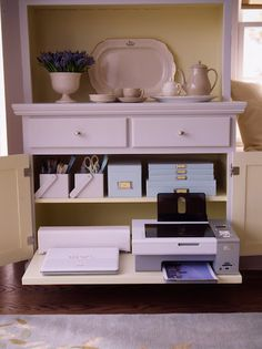 organized and beautiful office in a sideboard for a  small space solution - Martha Stewart