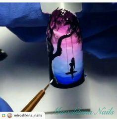 Paisaje anochecer Aqua Nails, Diy Nails, Cute Nails, Pretty Nails, Sponge Nail Art, Nail Drawing, Natural Nail Designs, Nagellack Design, Nail Art Designs Videos