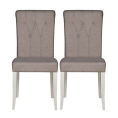 Eaton Walnut and Grey Button Back Pair of Upholstered Dining Chairs | Dunelm