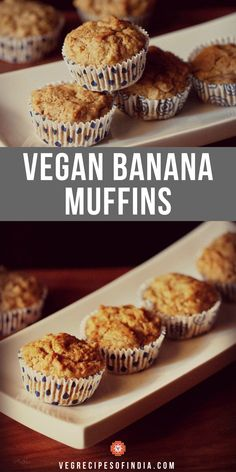 Eggless banana muffins recipe with step by step photos. These are easy to prepare delicious vegan banana muffins made with whole wheat flour, ripe bananas and sugar. Vegetarian Breakfast Recipes, Breakfast Snacks, Vegan Recipes, Eggless Banana Muffins, Vegan Muffins, Yummy Healthy Snacks, Indian Breakfast, Fun Desserts, Eggless Desserts