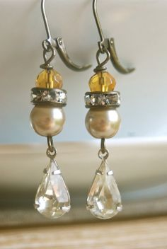 Autumn nights.topaz beadedpearl.rhinestone drop by tiedupmemories, $28.00