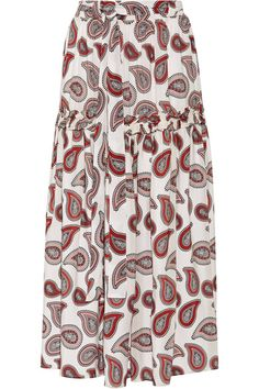 Dodo Bar Or - Stevie Paisley-print Silk Crepe De Chine Maxi Skirt - Red - IT4