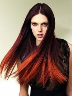 I love this Ombre red to black hair - Click image to find more hair posts