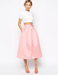 Pink Midi Skirt - I ADORE http://www.adoreness.com/floral-dresses-to-start-spring-right-and-a-discount-code/
