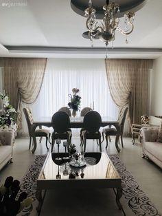 Bu Evin Her Odasında Farklı Stil, Farklı Ortamlar Var Living Room Decor, Bedroom Decor, Tulle Curtains, Elegant Homes, Home Decor Furniture, Modern Furniture, Dining Room Design, Shabby, New Homes