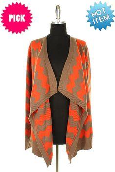The Texas Cowgirl - Orange Mocha Chevron Zig Zag Cardigan Sweater, (http://www.thetexascowgirl.com/orange-mocha-chevron-zig-zag-cardigan-sweater/)