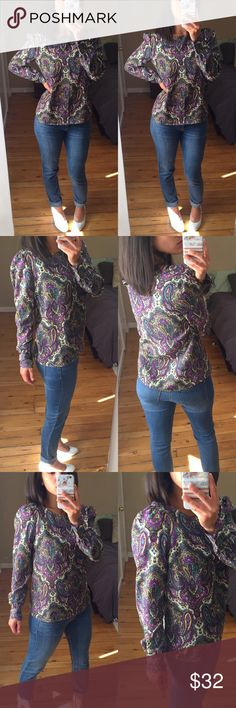 """J. Crew Purple Paisley Blouse Beautiful thin top, in excellent condition.  Great for work or fun! Sleeves at shoulder ruffle slightly, creating a moveable faux shoulder pad look.  Measurements (taken lying flat): 25"""" length of sleeve from shoulder 19"""" bust 25"""" length  Materials: 100% polyester  No Trades J. Crew Factory Tops Blouses"""