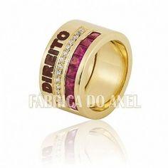 Anel de formatura em Ouro 18 k 0,750 Esmaltados com Rubis e diamantes Naturais