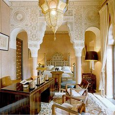A bedroom in Talitha Getty's  Palais de la Zahia, Marrakech.
