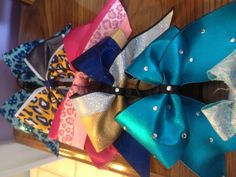 My cheer leading bows ! Get a new one at every competition :) soo addicting !