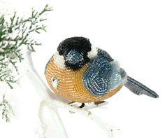 Chickadee Christmas Ornament Beaded Clip On Bird by MeredithDada