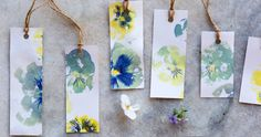 """Hapa Zome Flower Gift Tags (hapa-zome, which literally translates to """"leaf-dyeing"""" in Japanese) Use fresh flowers to create your own gift tags."""