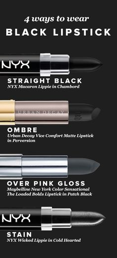 Take a look through your lipstick collection. If you're a beauty junky, you'll pretty much find every color in the rainbow and then some. With the exception of black. We found a few ways to wear black lipstick.