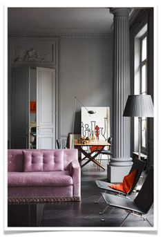 Grey interior lounge with soft purple upholstery