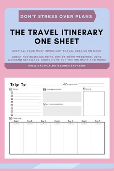 Travel Itinerary Template Family Planner Printable Vacation For Business Trips Weddings