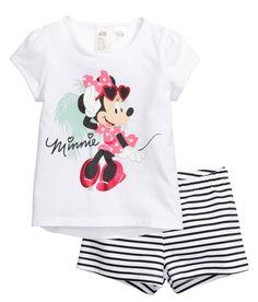 Pijama de punto con shorts | Blanco/Minnie Mouse | Kids | H&M MX