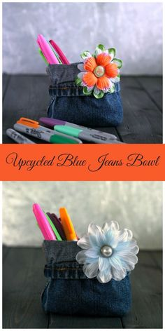Upcycled Blue Jeans Bowl easy crafts using #oldbluejeans