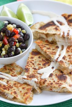 Smoky Chipotle Chicken Quesadillas (use no-fat or reduced fat cheese or replace the cheese with avocado. Also use rice or whole grain tortillas) I Love Food, Good Food, Yummy Food, Mexican Food Recipes, Mexican Dishes, Great Recipes, Favorite Recipes, Unique Recipes, Cooking Recipes