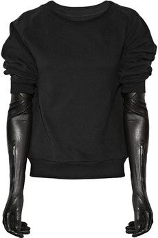 Maison Martin Margiela|Cotton sweater with leather gloves|NET-A-PORTER.COM - StyleSays