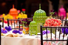 Event designer Details, Details used #ZGallerie Casablanca Lanterns as colorful wedding centerpieces. Photography by of Victor C. Sizemore
