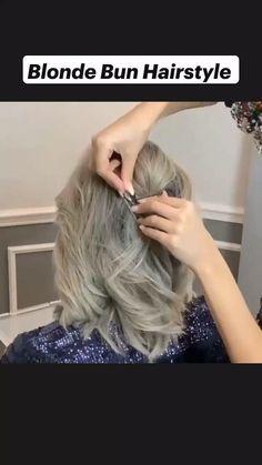 Hairdo For Long Hair, Short Hair Updo, Easy Hairstyles For Long Hair, Braided Hairstyles, Buns For Short Hair, Medium Hair Styles, Curly Hair Styles, Hair Upstyles, Blonde Bun