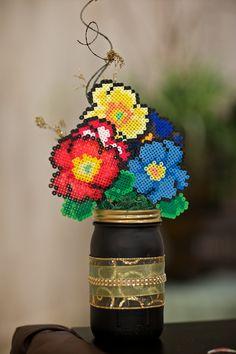 Perler bead floral centerpiece