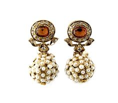 Pearl Ball and Citrine Stone Earrings by Agastya $90