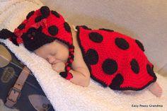 CROCHET PATTERN ladybug hat and blanket by EasyPeasyGrandma