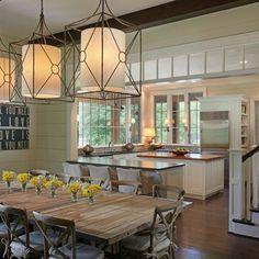 Slightly rustic, modern yet elegant open concept kitchen informal dining area. So pretty.
