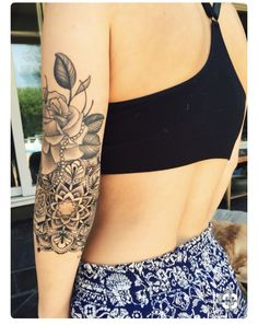 Sleeve Tattoos For Women – Image Ideas – Tattoos Piercings Elbow Tattoos, Sleeve Tattoos, Biker Tattoos, Forearm Tattoos, Mandala Tattoo Sleeve Women, Rose Tat, Tattoo Thigh, Neue Tattoos, Floral Tattoos