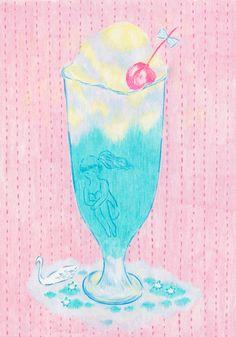Cream soda illustration. Shojikana