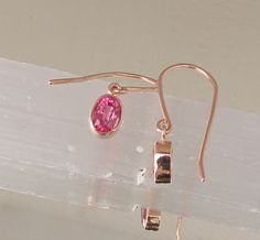 Pink Sapphire Rose Gold Dangle Earrings Neon Pink Sapphires Fine Gemstone Jewelry Gift for Her