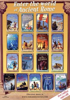 The seventeen books of the Roman Mysteries series (& two volumes of short stories) in their 3rd generation covers.