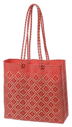 Tote hand bag, hand woven in red/ gold diamond pattern made from recycled plastic from Oaxaca, Mexico. The Etla Tote. $39.99, via Etsy.
