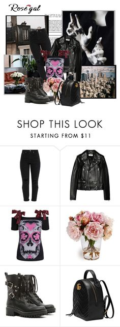 """""""Untitled #669"""" by rfultrastars ❤ liked on Polyvore featuring Prada, Yves Saint Laurent, RED Valentino and Gucci"""