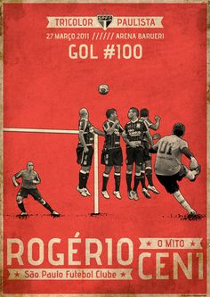 Arte do @Cleber Machado Machado para o Gol 100 do goleiro artilheiro, Rogério Ceni
