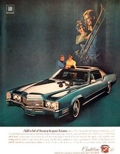 1970 Cadillac Fleetwood Eldorado vintage ad. Features 8.2 litre V-8 engine, automatic level control, and optional power sunroof.