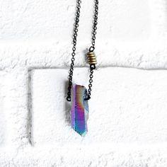 Titanium Quartz Necklace Rainbow now featured on Fab.