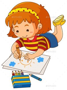 Buy Little Girl Drawing Sun on Paper by interactimages on GraphicRiver. Little girl drawing sun on paper illustration Little Girl Drawing, Drawing For Kids, Art For Kids, Kids Cartoon Characters, Cartoon Kids, Kids Background, Kids Schedule, School Clipart, Paper Illustration