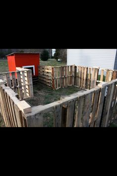 Reuse pallets for our goat pen fence? if you did it so the bars are horizontal you could hang the food and water pales in the cracks