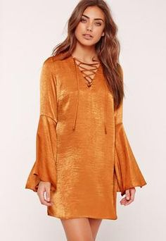 eeda7029bc Missguided Flared Sleeve Lace Up Front Shift Dress Orange